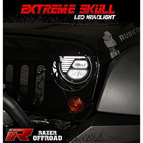 razer auto extreme skull led headlight blackhibean lowbeam