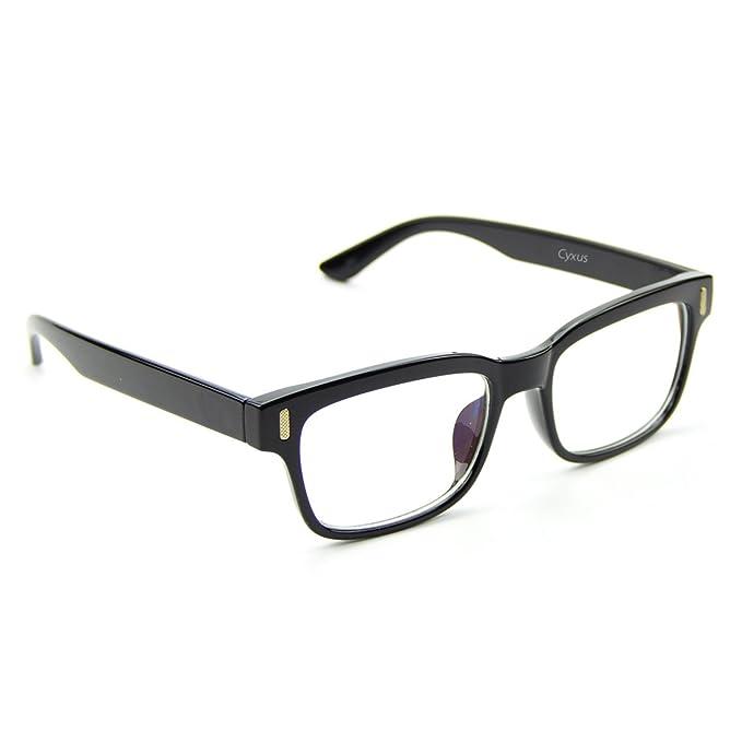 1ddb20f229 Cyxus [lentes transparentes vidrios ordinarios, Moda Unisexo Gafas ligeras  cómodas (Marco negro clásico