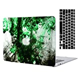 MacBook Air 11''Case and Keyboard Cover,AICOO Black and White Abstract Ink Hard Shell Rubberized Laptop Case Cover with Keyboard Cover Skin Protector for MacBook Air 11.6 inch (A1465/A1370),SM-7