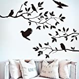 Best Birds Stickers For Wall Arts - Black Bird Tree Branch Wall Stickers Wall Decal Review
