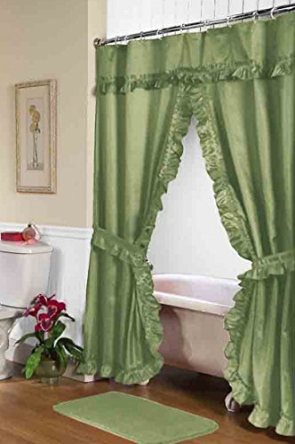 Carnation FSCD-L/42 Lauren Double Swag Shower Curtain, Sage