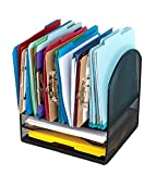 Metal Desktop File Organizer, 8 Compartment Metal Mesh Organizer, Easily organize home or office binders, folders, files, books, and more