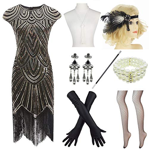 Women 1920s Vintage Flapper Fringe Beaded Gatsby Party Dress with 20s Accessories Set (3XL, Black -