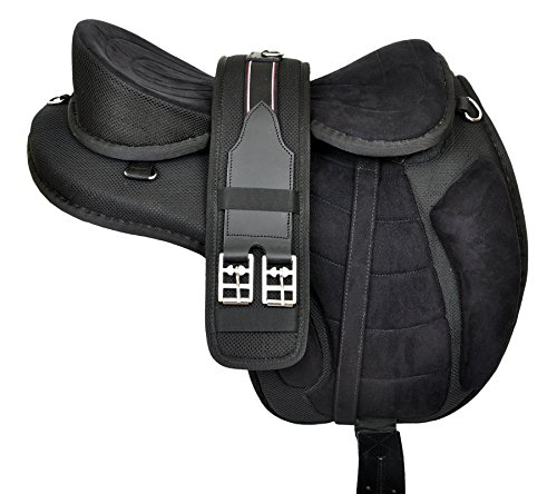 Manaal Enterprises Multicolored Synthetic Treeless FREEMAX English Horse Saddles Tack Get Matching Girth & Leather Straps Size 17