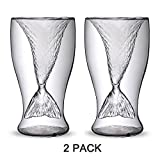Homecube 2 Pack Creative Personality Mermaid Handmade Glass Cup Ice Cream Cup Double High-temperature Glass of Red Wine