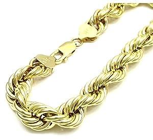 mens 10k yellow gold rope chain wrist bracelet