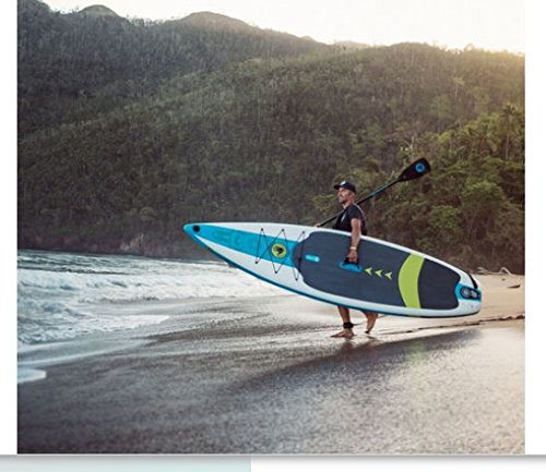 AWESOME TOUGH Reliable Versatile Body Glove Performer 11' Inflatable Stand Up Paddle Board Package Triple Dura-Fin Design, Dual Action High Pressure Pump and Gauge - Great For Families And Fitness!]()