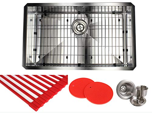 Design 16 Gauge Undermount Single Bowl Stainless Steel Kitchen Island Sink Premium Package, Stainless Steel (30 INCH) KKR-F3018 ()