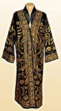 STUNNING UZBEK GOLD SILK EMBROIDERED UNISEX ROBE CHAPAN FROM BUKHARA A7457