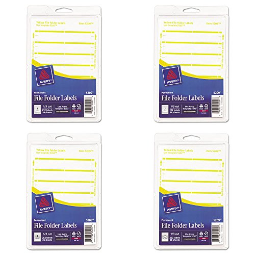 Avery Print or Write File Folder Labels for Laser and Inkjet Printers, 1/3 Cut, Yellow, Pack of 252 (5209), 4 Packs ()