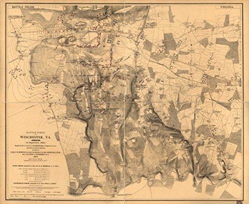 Map: 1873 Battle field of Winchester, Va. (Opequon) September 19, 1864|Virginia|Winchester|Winchester|3rd Battle Of|Winchester|Va|Winchester|3rd Battle Of|Winchester|Va
