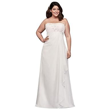David\'s Bridal Draped and Beaded Chiffon Plus Size Wedding Dress ...