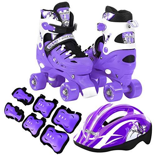 (Scale Sports Kids Quad Skates Combo Set 6 PCS Protective Gear Helmet Durable Safe Outdoor Roller Purple Size)