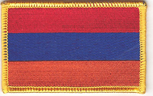 ARMENIA FLAG w/GOLD BORDER/Iron On Patch Applique/Armenian National Flag ()