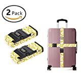 YEAHSPACE 2PC Set Fruit Banana Pattern Luggage Straps TSA Approved Lock Suitcase Belts Travel Tags Accessories