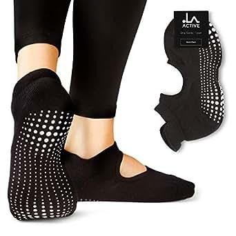 LA Active Grip Socks - Yoga Pilates Barre Non Slip - Ballet (Noire Black)
