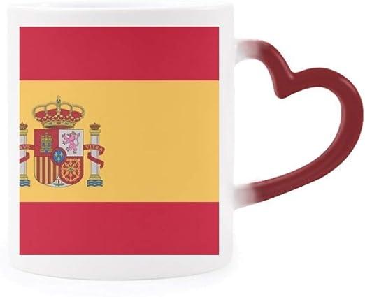 DIYthinker España Nacional a la Bandera Europa País Morphing de Calor de la Taza Copa Sensible Corazón Rojo: Amazon.es: Hogar