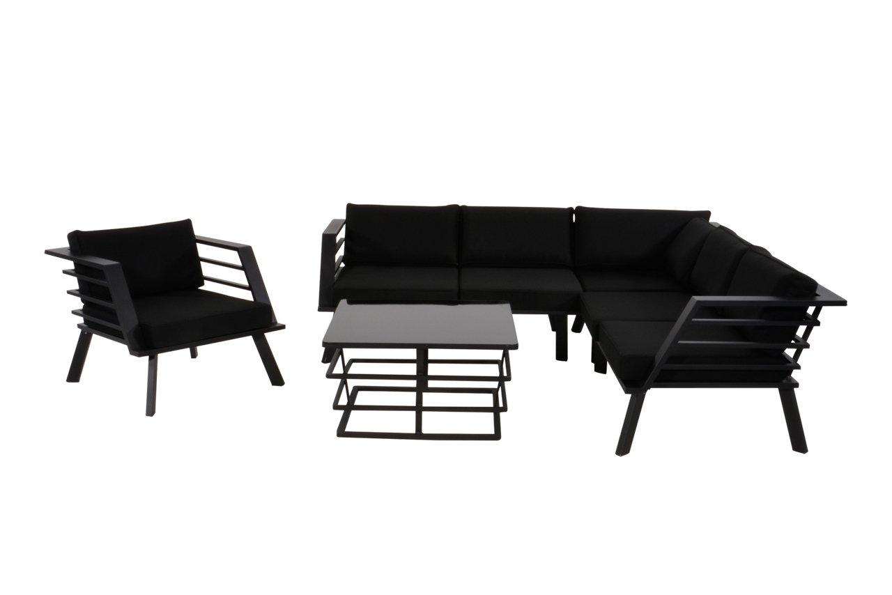 lifestyle4living Lounge Gartenmöbel Set aus Aluminium in schwarz. Gartenstuhl und Bank und Tisch inkl. Sitzauflagen, wetterfest. Ideal für Garten und Terrasse.