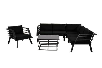 Lounge Gartenmöbel Set Aus Aluminium In Schwarz. Gartenstuhl Und Bank Und  Tisch Inkl. Sitzauflagen