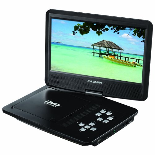 - Sylvania SDVD1048 10-Inch Portable DVD Player, 5 Hour Rechargeable Battery, Swivel Screen, with USB/SD Card Reader and Car Bag/Mounting Kit