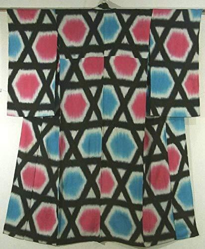 インフレーションスカウトたるみアンティーク 着物 ひとえ 籠目文様 裄62.5cm 身丈151cm 正絹
