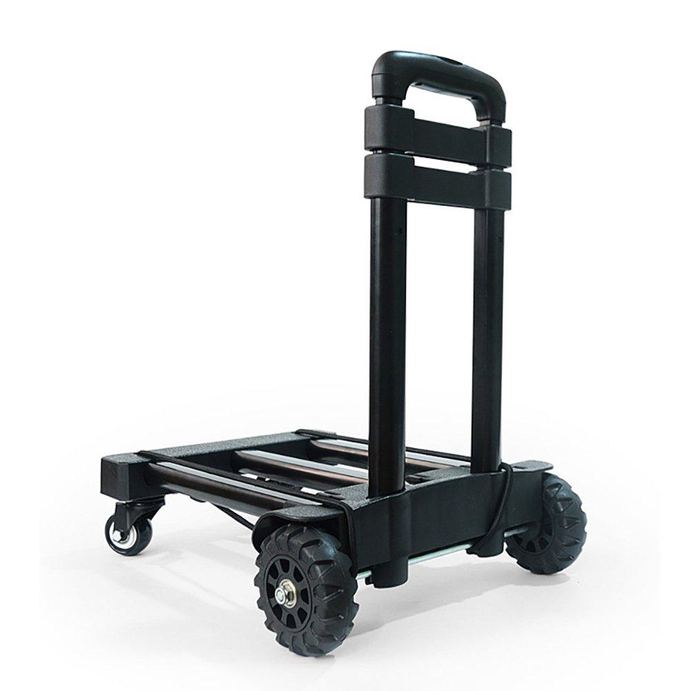 ショッピング食料品のカート、普遍的な車輪のトロリー、手押し車の家、入って来る小さいトレーラーの処理、携帯用四輪荷物カートの折りたたみ B07RRSNSNF