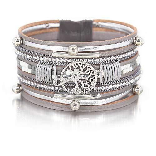 Silver Tree of Life Bracelet Bead Tube Resin Bracelet Clear Rhinestone Wrap Bracelet Leather Cuff Bracelet Braided Bracelet Boho Jewelry for Women Teen Girls