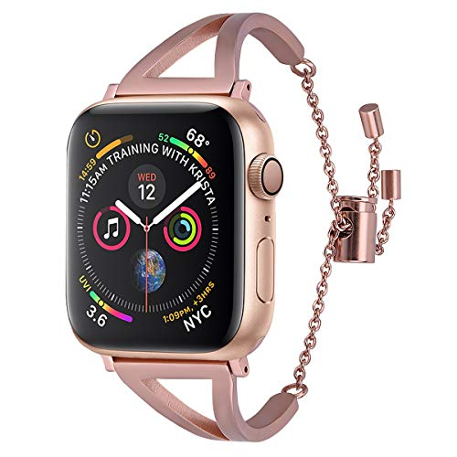 CAGOS Stainless Steel Bands Compatible 44mm Apple Watch Bands Series 4 Women, Classic Cuff iWatch Bracelet Wristbands Replacement Strap (Match Gold Aluminium Case, 42mm/44mm)