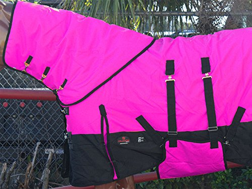 "HILASON 72"" 1200D Waterproof Winter Horse Blanket Neck Cover Belly WRAP HOT Pink"