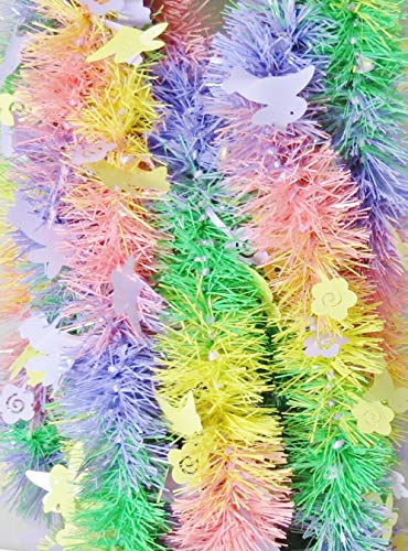 BIG CITY BARGAINS Easter Garland 15 Feet Long - Made in The USA (Multi Hopping Bunnies & Flowers)