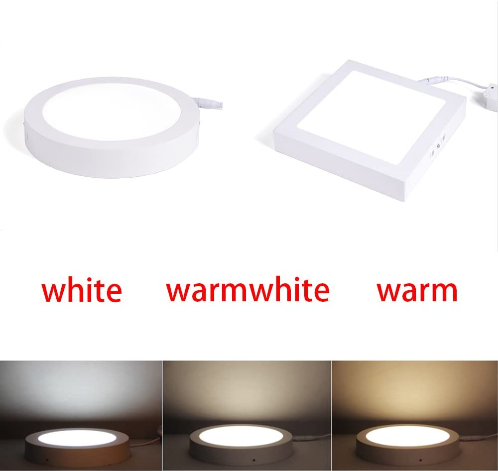 Jammas 5PCS LED Panel Light Round Square Recessed Lamp AC85V-260V 6W 12W 18W 24W 30W Bulb Bedroom Kitchen Indoor LED Spot Light Emitting Color: Square Tricolor, Wattage: 6W