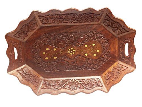 Christmas or Thanks Giving Gift, Wooden Serving Tray Hand Carved, Serving Tray for Coffee, Tea, Snacks, Cold Drinks, Oval Shape, Brown Color Serving Tray for Parties 15X10 Inch (Coffee Rosewood Oval Table)