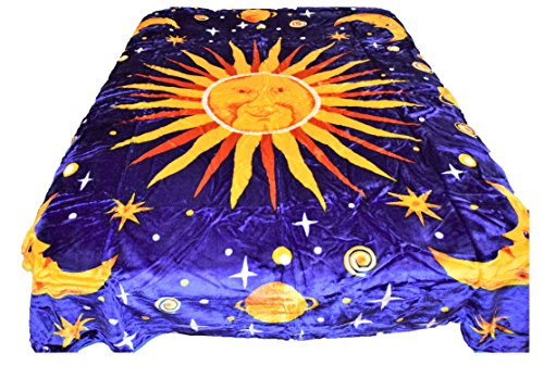 tion 96x72 Cosmic Outerspace Cosmos Stars Moon Sun Luxury Super Soft Medium Weight QUEEN/Full size Mink Blanket 1ply ()