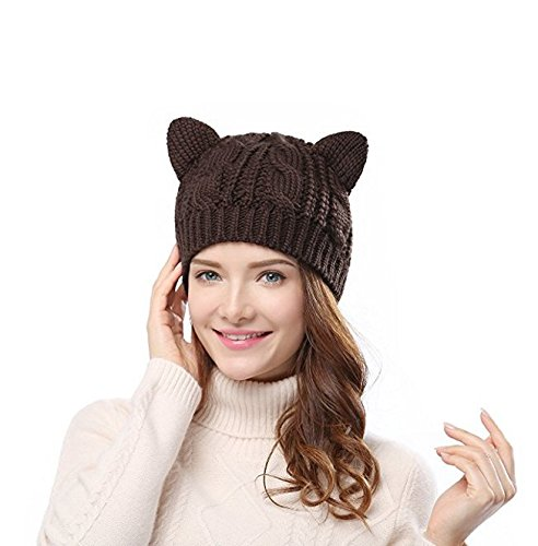 yoIoY暖かい猫耳Braidedキャップニットウール帽子コーヒー   B0747KYFZ7