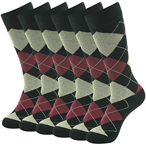Business Groomsmen Wedding Dress Socks Gifts, SUTTOS Mens Classics Argyle Nordic Lattice Fashion Patterned Premium Cotton Blend Comfortable Casual Socks Black Friday Deals Socks 6 - Men Black For Friday Deals