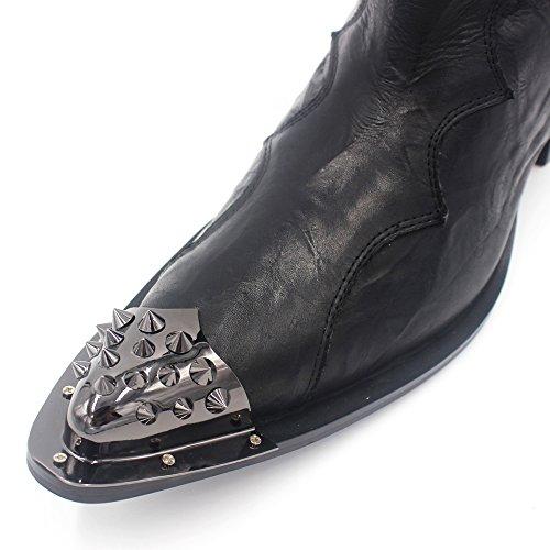 Cocosion Heren Punk Stijl Metalen Klinknagel Lederen Stiksels Mode Laarzen