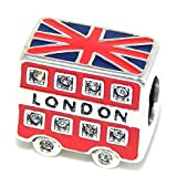 "Solid 925 Sterling Silver ""London Tour Bus"" Charm Bead 116 for European Snake Chain Bracelets"