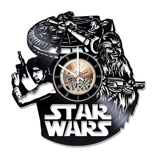 Empire Records Costume - Han Solo Trilogy Vinyl Record Wall Clock - Get unique Living Room wall decor - Gift ideas for friends – Star Wars Unique Modern Art