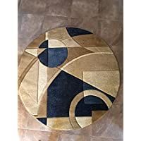 Modern Round Abstract Area Rug Blue Design #322 Contempo (4ft.X4ft.Round)