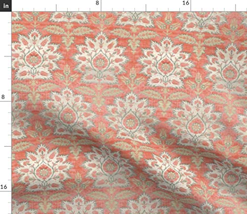 Carnations + Tulips Damask Fabric - and Ikat + Brocade Medieval Turkish Floral Flowers Coral Mint Print on Fabric by The Yard - Sport Lycra for Swimwear Performance Leggings Apparel Fashion (Tulip Brocade)