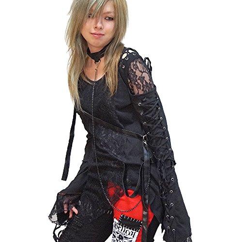 Hippies Women's Gothic Visual Vkei Back Net T-Shirts One Size,Black 557842