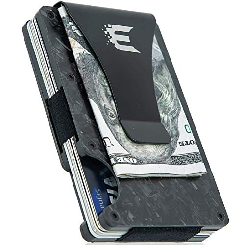 Exenact Men's Minimalist Forged Carbon Fiber Thin Wallet + Money Clip CC Case + RFID Blocking Slim Money Wallet + Credit Cards Business Card Holder for Men - New 2019 Version (Best Card Holder Wallet 2019)