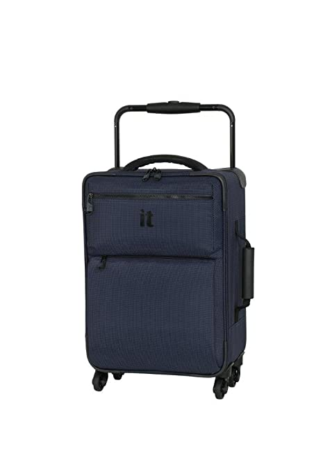 f9f6f2a37 IT Luggage World's Lightest 55cm Carry-on Four Wheel Spinner Suitcase Navy  Two Tone
