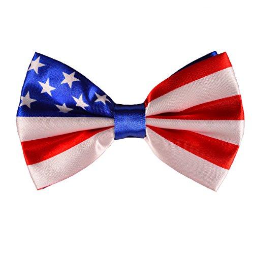 Men's Patriotic USA Flag Adjustable Pre-tied Bow Tie ()