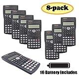 RENUS 8 Packs, 2-Line Engineering Scientific Calculator Function Calculator for Student and Teacher