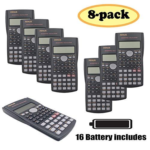 RENUS 8 Packs, 2-Line Engineering Scientific Calculator Function Calculator for Student and Teacher (Scientific Calculator Large)