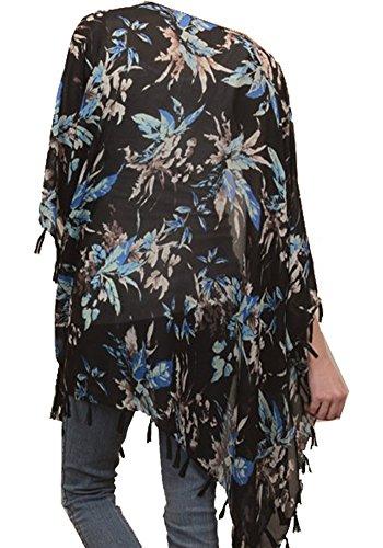 Marilyn & Main Women's Kimono Henna Tie Dye Pattern Floral Tassle Scarf Cardigan