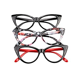 SOOLALA Ladies 52mm Lens Fashion Designer Cat Eye Reading Glasses Customized Strengths, 3mix, x2.25