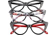 SOOLALA Ladies 50mm Lens Fashion Designer Cat Eye Reading Glasses Customized Strengths, 3mix, x2.25