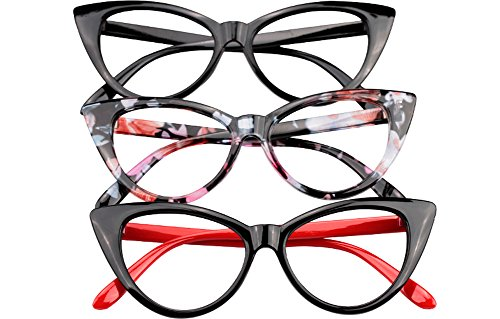 SOOLALA Ladies 61mm Lens Fashion Designer Cat Eye Reading Glasses Customized Strengths, 3mix, - Eye Ladies Glasses